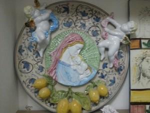 piatto ceramica siciliana a mano vergine maria